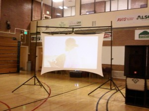 Video Wall 10' x 7', rear or front projection.