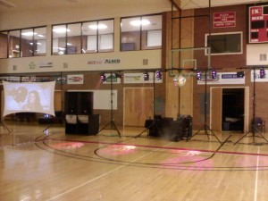 Our Setup with video wall on left.